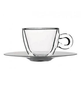 Luigi Bormioli Φλυτζάνι Και Πιάτο THERMIC GLASS 6,5 cl Σετ 2τμχ