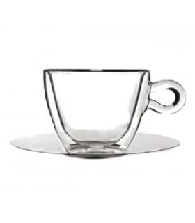 Luigi Bormioli Φλυτζάνι Και Πιάτο THERMIC GLASS 30 cl Σετ 2τμχ